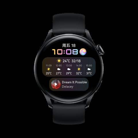 【新品 活力款】HUAWEI WATCH 3 46mm eSIM独立通话智能手表 心脏与呼吸健康管理 3天强劲续航 体温检测 NFC支付 黑色氟橡胶表带